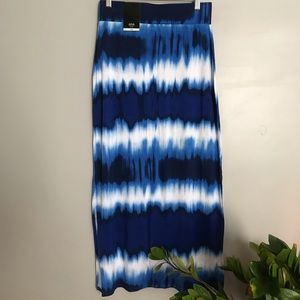 Blue & white tie dyed a.n.a maxi skirt.